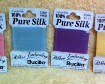 Silk for Ribbon Embroidery, Choice of colors, 3 yards, 100% Silk Ribbon