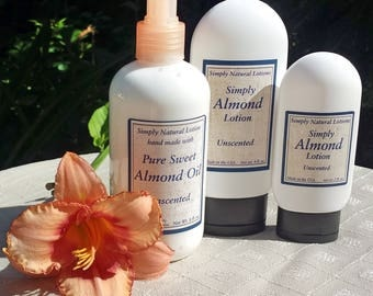Almond Oil Lotion, Body Lotion, Moisturizer, Lotion, Sweet Almond Oil, Organic ingredients, All Natural, Skin Care, Preservative, Handmade