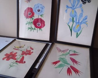 4 Antique Colored Depicting flowers