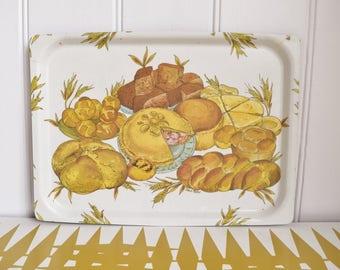 Vintage Mallod bakery design serving Tray - Melamine - Retro Dining / Kitchen