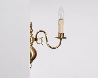 Flemish wall lamp, polished brass/matt, 1xE14