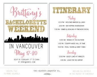 VANCOUVER Bachelorette Party Invitation and Itinerary - Vancouver Bachelorette Invitation - Canada Bachelorette - Printable Invitation