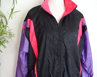 90s Neon Track Jacket Windbreaker Womens Large Pink Black Purple