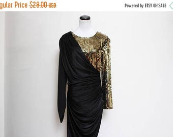 25% OFF VTG 80s Gold Sequin Black Trophy Ruched Party Glam Dress M