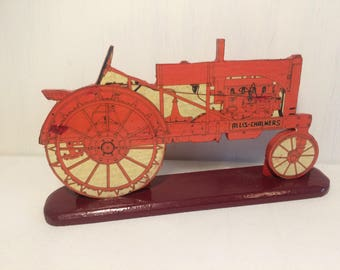 Vintage Handmade Wooden Tractor Ornament - Allis Chalmers - Agriculture Farming Decor - Old Tractor - Gift For Him - Farmer Gift