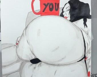 """New dessin nu féminin erotique portrait """"I want you"""" fine art encre de chine  24*32"""