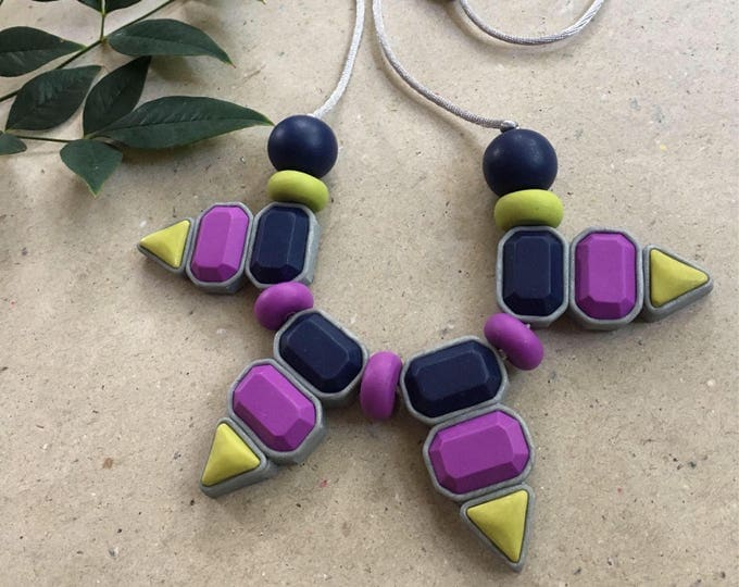 VIRTIGO BIB NECKLACE// Tribal inspired polymer clay statement necklace// Little Tusk // Navy, purple and chartreuse gemstone bib// #SN3043