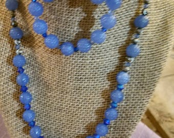 Vintage blue berry bead necklace set