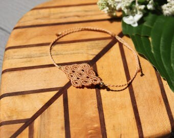 Macrame Jewellery, Woven Macrame Bracelet/Anklet/Armband with Gold-plated Beads, Beige
