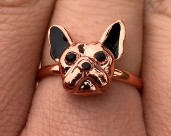 Frenchie, French Bulldog Ring, Gift for Her, Bulldog Fashion Jewelry, Animal Ring, Dog Ring