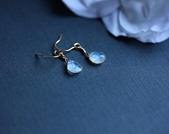 GOLD filled Moonstone Earrings - Rainbow Moonstone earrings - June Birthstone - Moonstone Jewelry - Gemstone earrings - Moon stone earrings