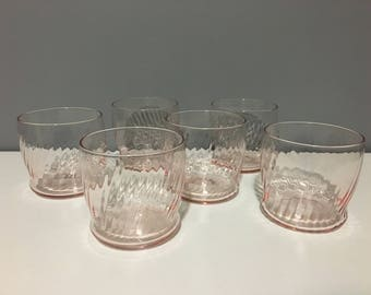 Vintage Pink Swirl Roly Poly Glasses Ribbed Low Ball Pink Glasses Set of 6 Fluted Swirl Drinking Glasses - Wine Glasses and Barware