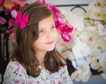Fuchsia pink Satin bow headband