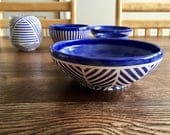 Ceramic Bowl - Medium Blue & White Geometric Bowl - Handmade Wheel-thrown Pottery