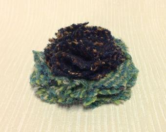 Welsh tweed flower brooch, corsage in jade green and dark purple