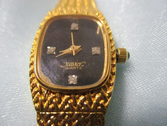 xavier quarts gold tone basket weave wristband