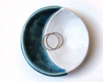 Blue Moon Dish - Ceramic, Pottery, Handmade - Ring Dish, Jewelry Dish, Stud Holder, Tea Bag Rest, Crescent Moon Decor, Gifts for Moon Lovers