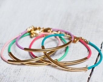 Leather bracelet with gold bar tube bracelet lilac turquoise pink mint jewelry bangle cuff wedding bridesmaid gift bridal  bar cord bangle