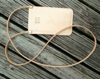 Handmade vege tan phone pouch, custom made