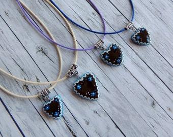 Handbemalte Edelweiss Halskette, Bayern Halskette