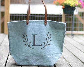Monogrammed Tote Bag with Deer Antler Monogram Gift for Her-Gifts for Women-Antlers Bag-Personalized Tote-Personalized Gift for Teen Girls