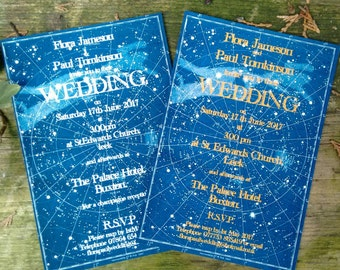 Celestial star chart wedding invitations, as featured in Perfect Wedding Magazine