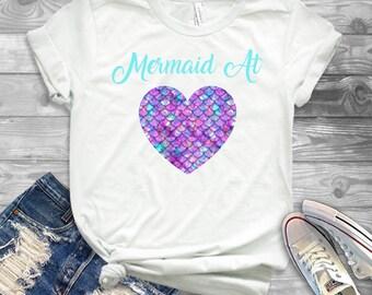 Mermaid At Heart Shirt - Mermaid Girls Shirt - Girls Summer Mermaid Shirt