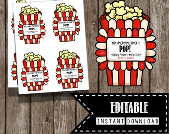 Valentine's Day Card - Popcorn - You Make My Heart POP - EDITABLE  - Class Party - Teacher - Kids - Printable - Instant Download