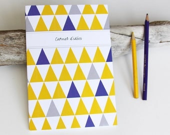 LARGE purple and yellow TRIANGLES design book
