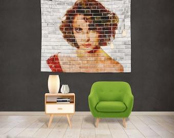 Elizabeth Taylor Wall Tapestry | Sex Symbol Wall Hanging | Movie Star Art Tapestry | Liz Taylor Wall Art Decor | Watercolor Home Decor