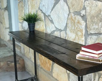 Wood and Pipe Console/Bar Table