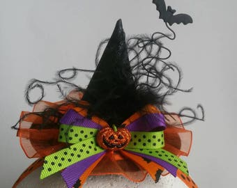 Mini Witch Hat Headband Orange Sparkle Pumpkin Halloween Ostrich Feather