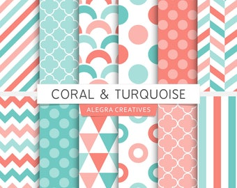 Coral & Turquoise digital papers, geometric, polka dot, chevron, stripes, scales, triangles, scrapbook, background pages