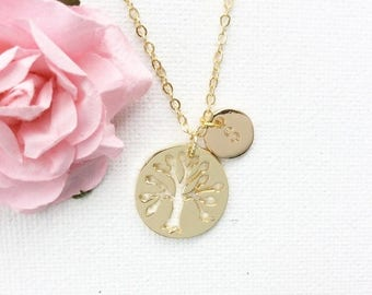 VACATION SALE Personalized Gold Tree Necklace, Gold tree of life, tree pendant, Tree of Life Necklace, initial jewelry, family tree