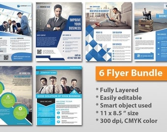 6 Corporate Flyer Bundle | Business Flyer Template | Photoshop CS/CC and MS Word Template, Instant Download