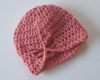 Newborn Butterfly Beanie - Coral Pure Wool