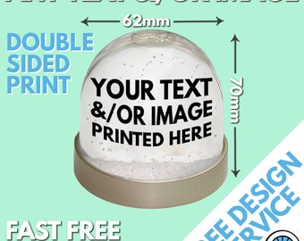 Custom Snow Globe Personalised Printed Image Photo Logo Christmas Snowglobe Birthday Gift Glitter Dome - Double Sided Personalized Bespoke