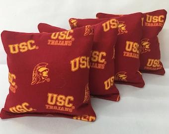 USC TROJANS 4 Cornhole Bags Bean Toss Print 2 Sides