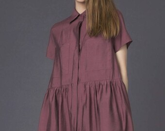 Dark pink dress / Pink shirt dress / Rose shirt dress / Dark pink summer dress / Raspberry pink dress