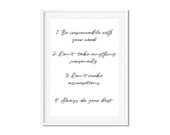 Four Agreements Quotes Amazing The Four Agreements  Etsy