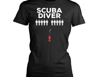 Scuba diver womens fit T-Shirt. Funny Scuba diver shirt.