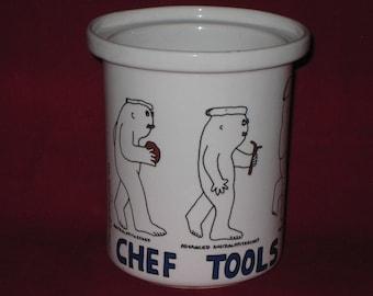 Utensil Holder Kitchen/Utensil Crock/1983 Barney Saltzberg Chefs/Vintage  Ceramic Kitchen Utensil