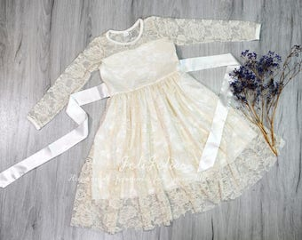 JOLIJOLIES Flower Girl Long Sleeves Dress Lace Bow Ribbon Sash Children White Ivory Burgundy Christmas Party Birthday Soft Wedding
