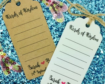 Wedding Advice Cards / Tags, Wishing Tree Gift Tag, Guest Book, Words of Wisdom