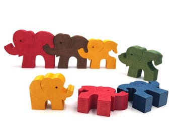 Jigsaw Elephants Puzzle - Educational Toy for Kids - Montessori Wooden Puzzle - Brain Teaser - Handmade Toy - Toddler Christmas Gift
