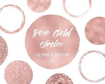 Rose gold circles clipart, rose gold design elements, rose gold brush strokes, foil & sparkly, for logo, blog, download