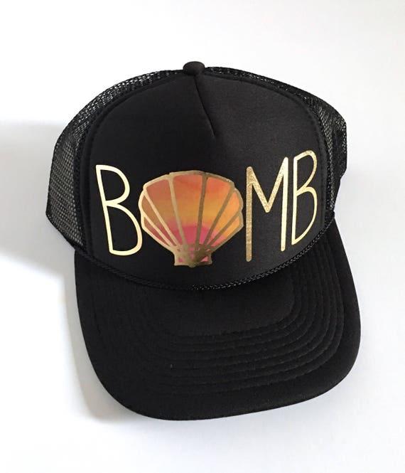 Sunrise Bombshell Hat| Aloha Trucker Hat| Aloha Hat| Trucker Hat| Hawaii Hat| Shell Hat| sun hat| Beach Hat| Black Hat