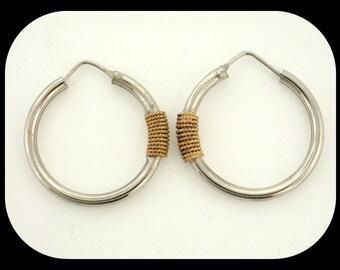 Italy Designer Gold Rope over 925 Sterling Silver Endless Hoop EARRINGS 30mm