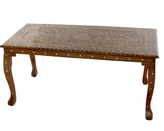 Anglo-Indian fruitwood coffee table with inlaid bone design