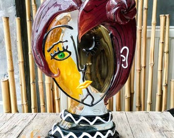Picasso Face Sculpture - Italian Murano Glass - Hand Blown Glass Sculpture 42 cm / 16.5 inch - Certified Murano Glass Artwork Made in Italy
